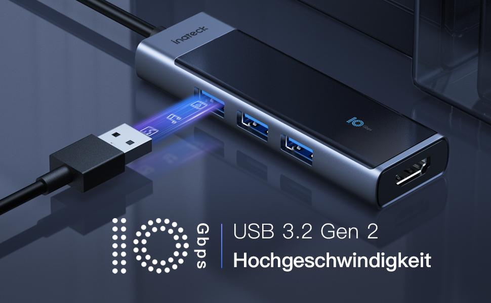 USB 3.2 gen 2 mit 10Gbps, 2 mal schneller als USB 3.0
