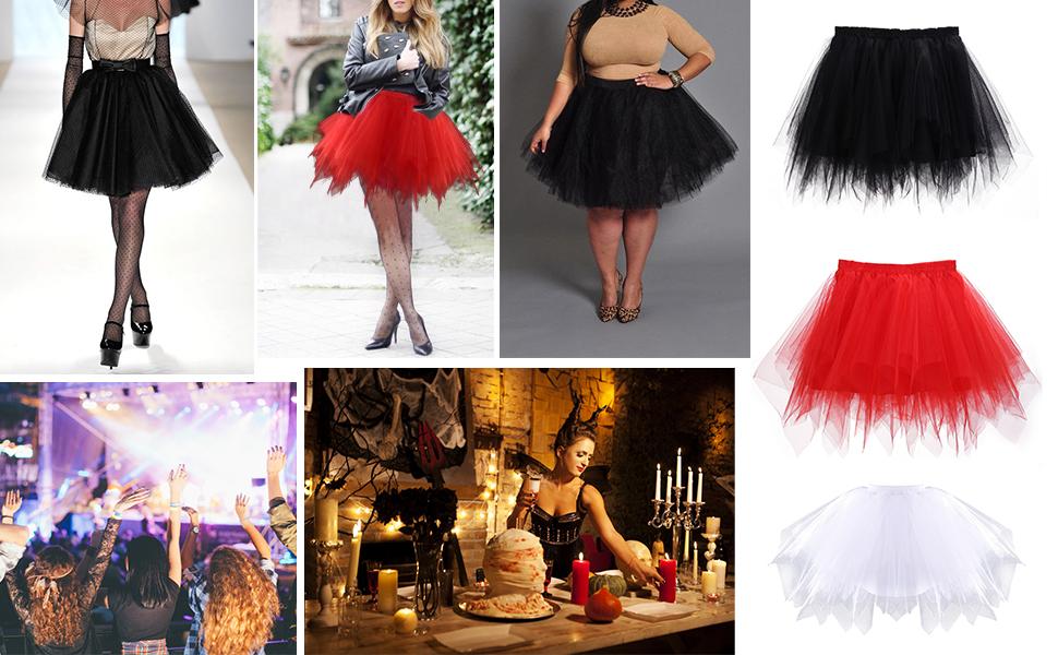 Vintage Short Tulle Petticoat Ballet Bubble Tutu Party Costume Skirt for Women