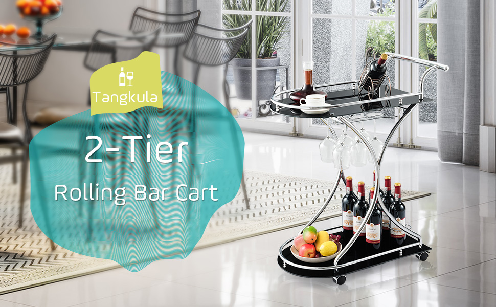 bar cart silver and glass