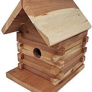 The Wakefield log cabin birdhouse is made of high-quality cedar wood