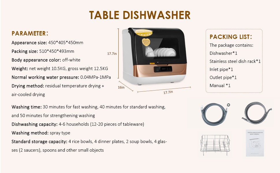 parameter of table dishwasher