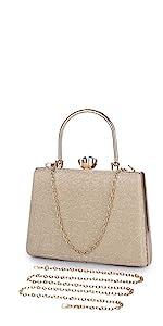 Abendtasche Damen Clutch Bag Kette Shiny Handtasche Umhängetasche
