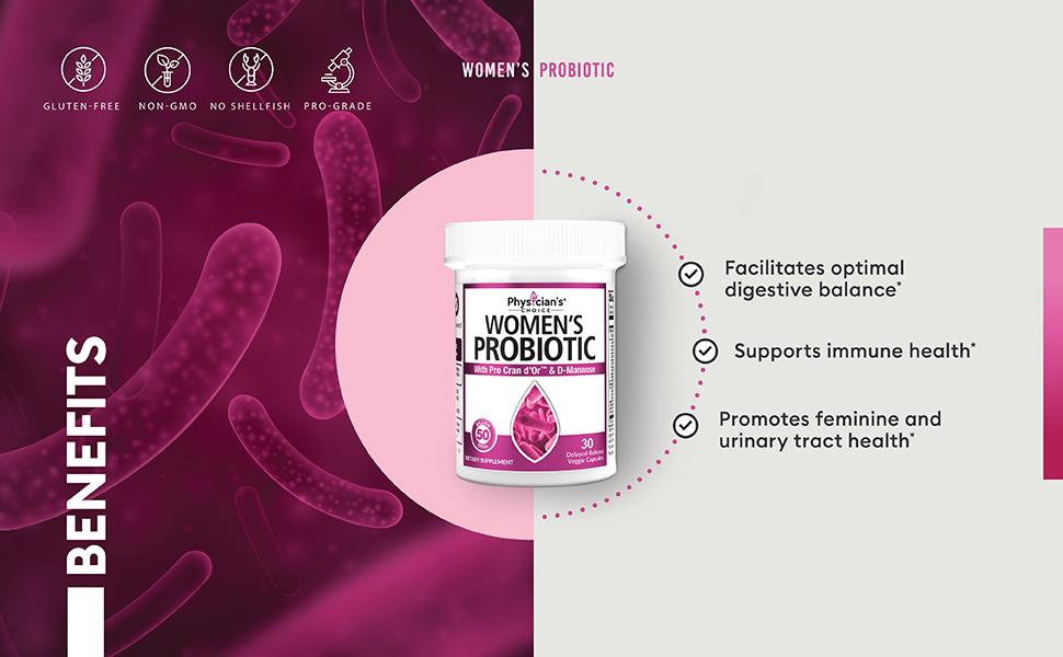 probiotics for women organic vegan prebiotic synbiotic flora gut-friendly bacteria uti