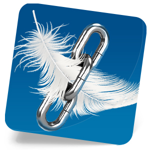 White feather with chain link showing bed wedge's durability