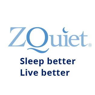 zquiet blue logo on white background with text sleep better live better