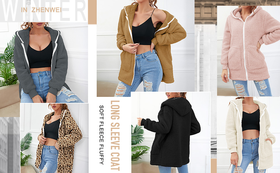 Fuzzy hooded cardigan coat