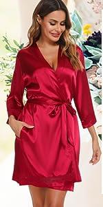 Vlazom Womenamp;#39;s Satin Kimono Robes Short Lace Trim Bridal Party Bathrobe