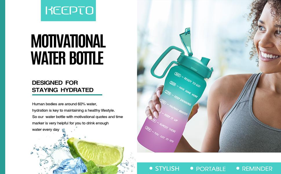 half gallon motivation water bottle with straw & handle bpa free leakproof water jug