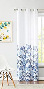Blue Floral Sheer Curtains
