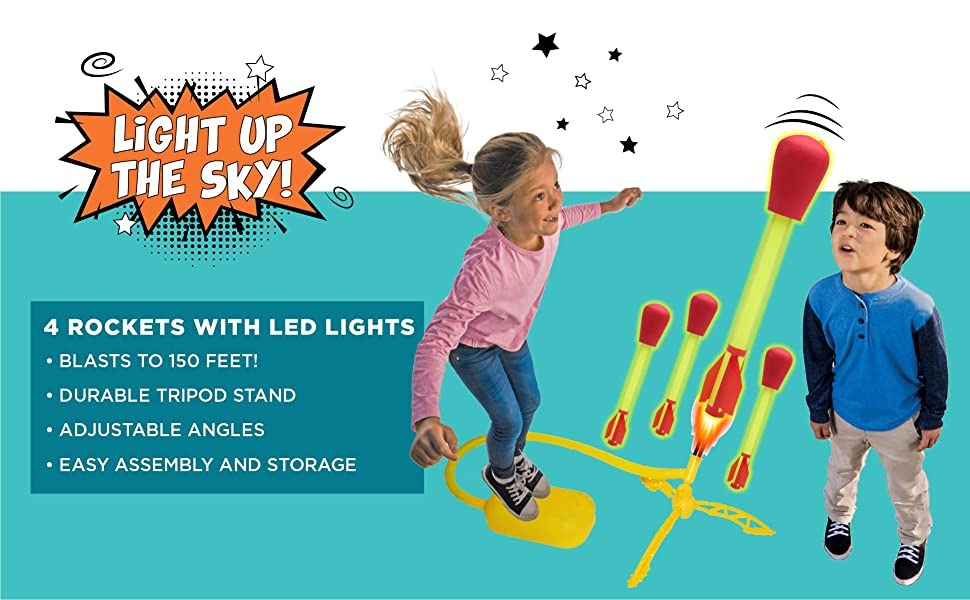 stomprocket blast off shoots to 150 feet year round active play outdoor indoor STEM fun kid powered