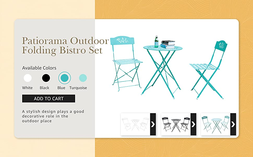 Patiorama 3 Pieces Outdoor Patio Bistro Set, Metal Folding Round Table and Chair