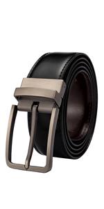 Mens Reversible Leather Belt Black Brown Dress Belt Men Casual Belt for Jeans