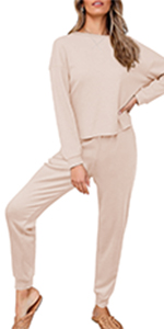 Women's Long Sleeve Pajama Sets Knit Solid Color Sweatsuit