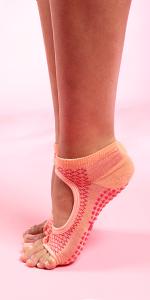 Toe Less socks for women, half slip sock, non slip sock, barefoot feel sock, socks for barre, yoga