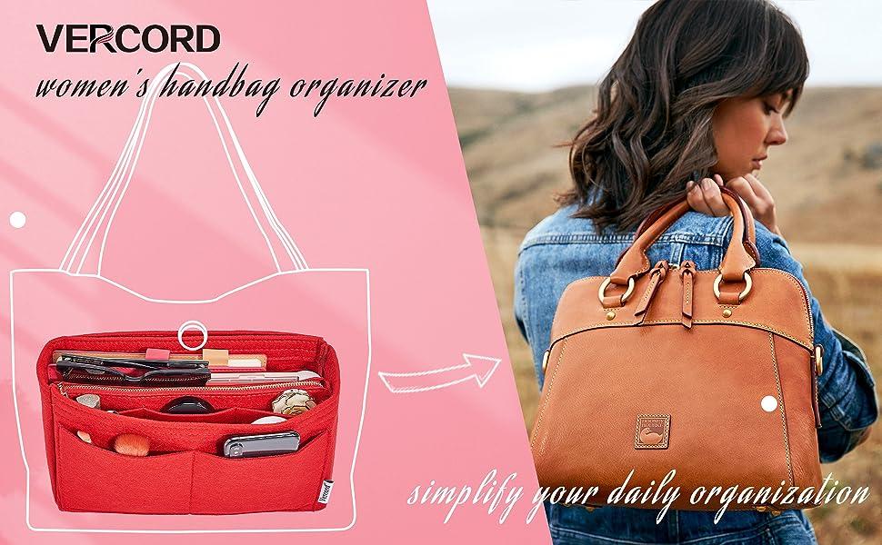 Vercord Felt Organizer Insert For Purse Handbag Tote Bag In Bag Inside Shaper Divider