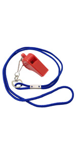 red plastic whistle with colored lanyard