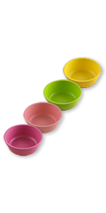bright pink blush lime green yellow small food bowls for babies