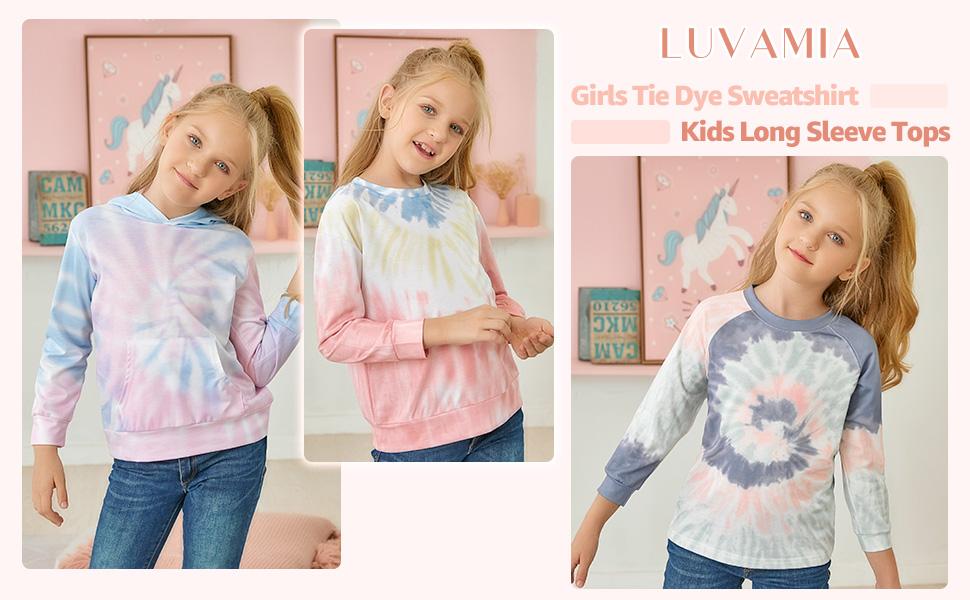 Kids Girls Hoodies Tie Dye Cute Long Sleeve Pocket Pullover Sweatshirt