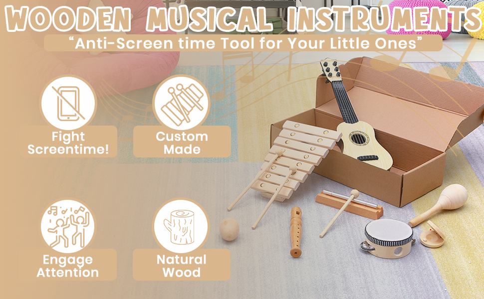 Wooden Musical Instruments for Kids showing the wooden music instruments and benefits