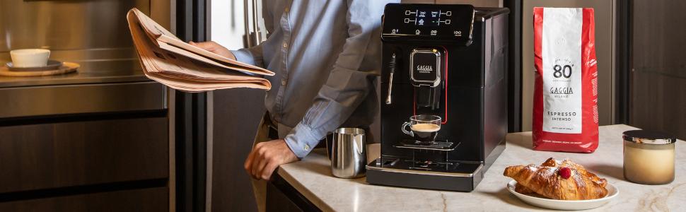 Gaggia Magenta Plus Espresso Machine on the counter.