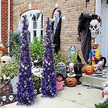 Joy-Leo 5ft Pop Up Black Halloween Christmas Tree with Purple Spider Sequins