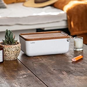 Cubbi stash box on coffee table