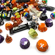 halloween peanut butter trick treat candy assortment kit kat caramel kisses cheap bulk glow dark