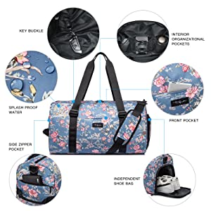 TUGUAN Gym Bag 19'' Travel Duffle with Plastic Bags