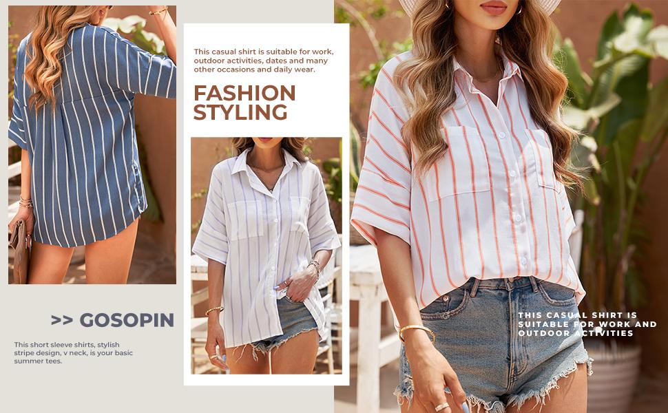 Women's Button Down Roll-up Long Sleeves Lapel Collar Shirt