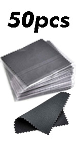 50pcs Jewelry Cleaning Cloth Dark Gray Polishing Cloth for Sterling Silver 8x8cm