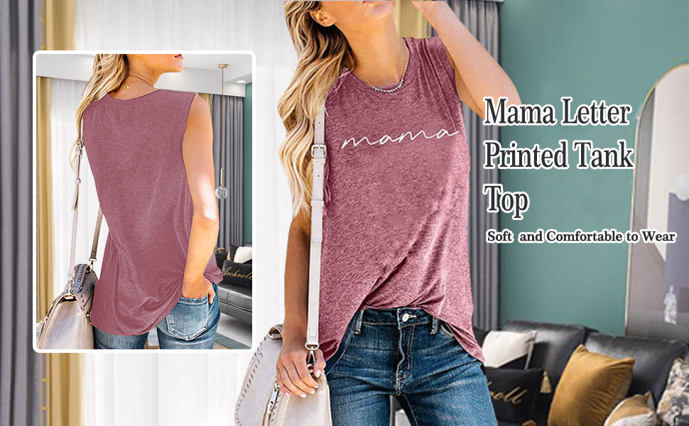 Mama Letter Printed Tank Top
