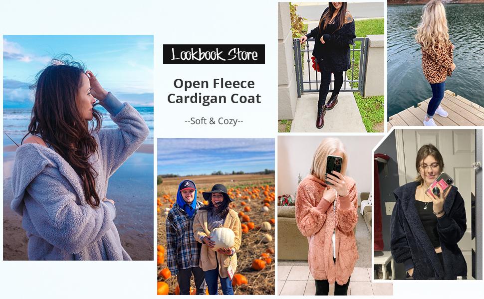 LookbookStore Ladies Lounge Cardigan Coat Fleece Sherpa Outerwear Girls Open Jacket Hoodie