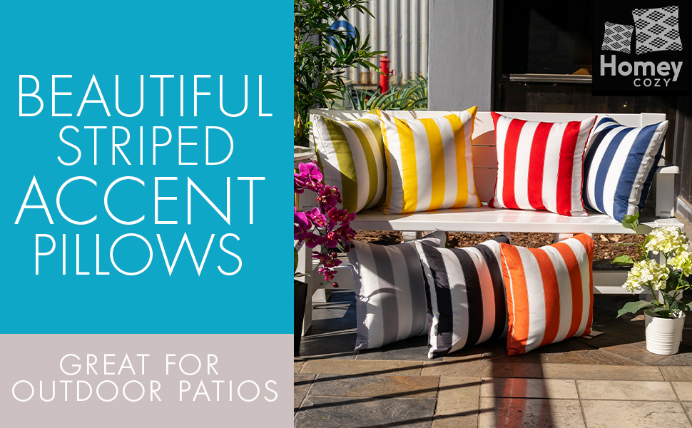 Beautiful Striped Accent Pillows, Great for Outdoor Patios
