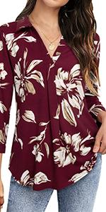 Womenamp;amp;amp;amp;#39;s V Neck Blouse 3/4 Sleeve Tunic Tops Ladies Work Shirts