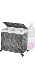 laundry hamper 3 section with wheels