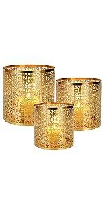 Gold Window sash Pattern Candle Holder
