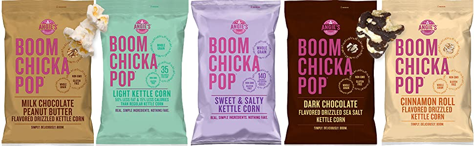 Angieamp;#39;s BOOMCHICKAPOP popped popcorn bags with a variety of flavors