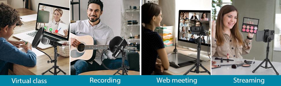 Desk stand for mic, webcam, phones
