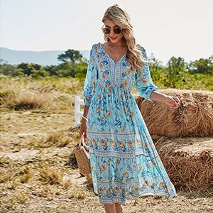 Women Vintage 3/4 Sleeve Deep V Neck Boho Swing Maxi Dress