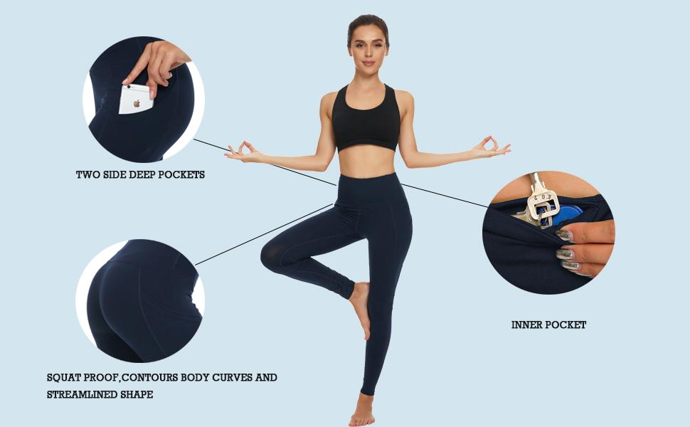 Leggings with Pockets, Tummy Control Workout Yoga Leggings