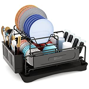 Dish Drying Rack2 Tier Small Kitchen Dish Rack and Drainboard Set, 304 Stainless Steel Dish Rack