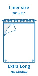 70amp;#34; x 81amp;#34; Fabric Snap in Liner for Extra Long Shower Curtain 71amp;#34; x 86amp;#34;