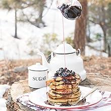 camping, pancakes, breakfast, starters, baking, sweet, fruits