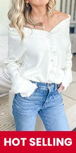 Women Button Down Ruffle Collar Sweaters