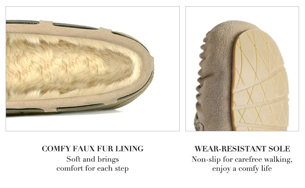 Comfy faux lining and wear-resistant sole