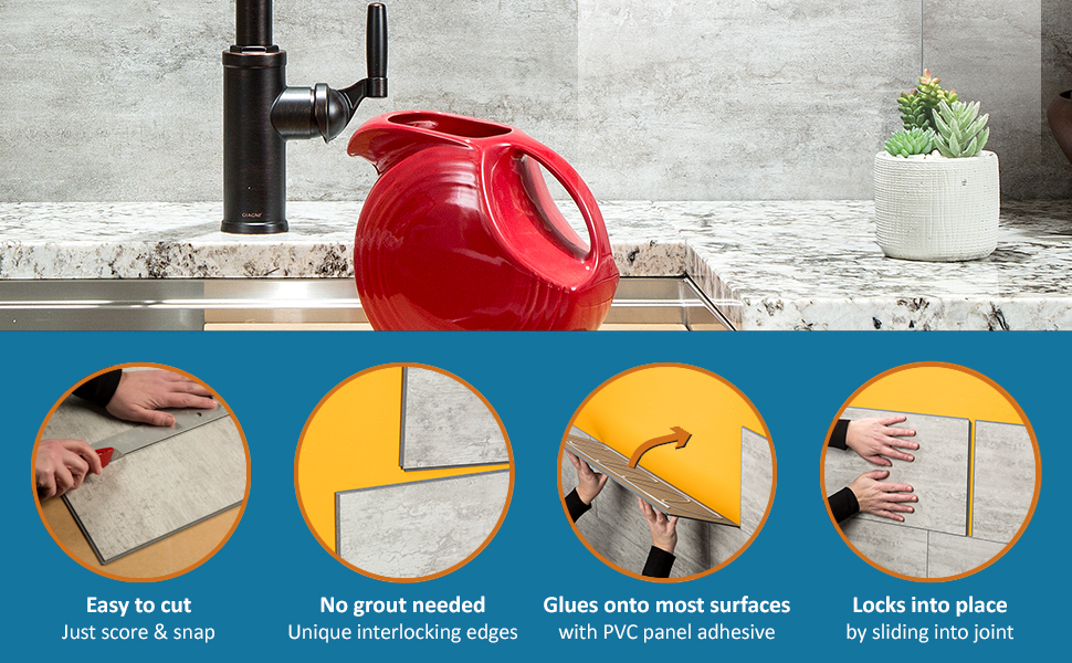 Easy to Cut No Grout Needed Glues to most Surfaces Locks into Place