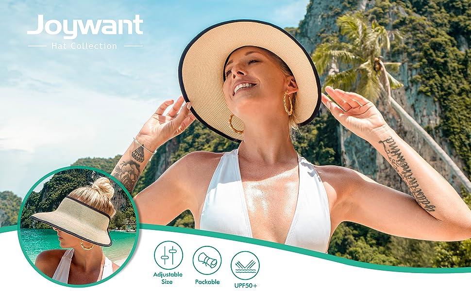 wide brim summer beach pool Straw visor for women packable and foldable sunhat UPF 50+ velcro back