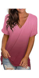 Women V Neck Short Sleeve T Shirts Drop Tail Hem Relaxed Fit Tees