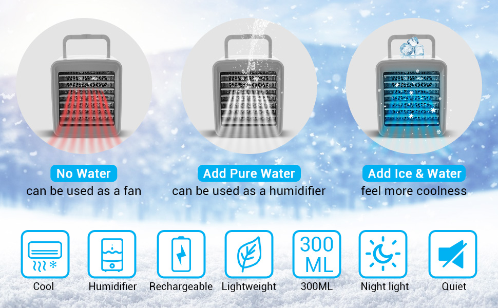 Cool Humidifier Rechargeable Lightweight 300ML Night light Quiet