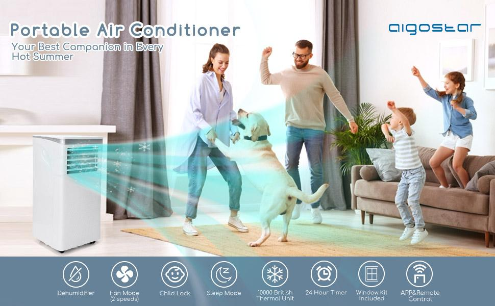 The air conditioner brings a cool breeze to the room, and the family and the dog are having fun